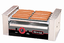The 8010 hot dog roller grill will hold up to 10 hot dogs and has optional silverstone rollers