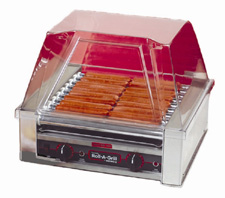 The 8018 hot dog roller grill will hold up to 18 hot dogs and has optional silverstone rollers