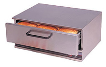 Stainless steel bunwarmers provide dry heat to keep the hot dog buns ready to go.