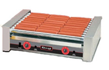 The 8027 hot dog roller grill will hold up to 27 hot dogs and has optional silverstone rollers