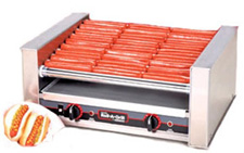 The 8027 slanted hot dog roller grill will hold up to 27 hot dogs and has optional silverstone rollers