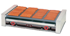 The 8036 hot dog roller grill will hold up to 36 hot dogs and has optional silverstone rollers