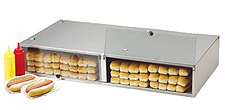 Stainless steel bun boxes will hold a lot of hot dog buns. Non-heated.