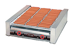 The 8045 hot dog roller grill will hold up to 45 hot dogs and has optional silverstone rollers
