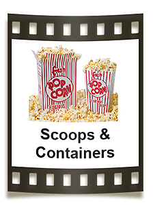 Popcorn boxes, scoop boxes, popcorn bags, and plastic popcorn containers.