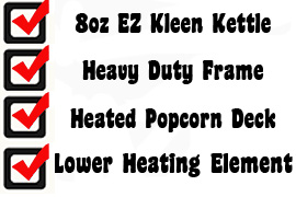 the gold medal super 888 oz popcorn popping machine offer the 8oz ez clean kettle that everyone loves the all stainless steel kettle provides easy clean - Gold Medal Popcorn
